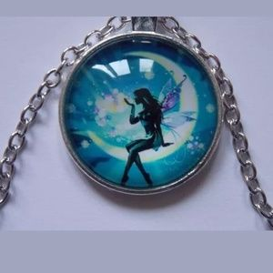 Fairy On Crescent Moon Silver & Glass Necklace